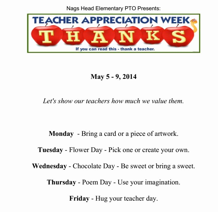 Teacher Appreciation Week Letters Elegant Home Nags Head Elementary School