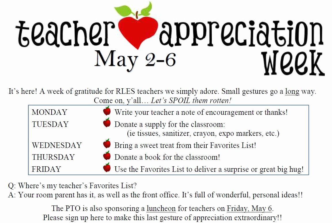 Teacher Appreciation Week Letters New Rowe Lane Elementary School