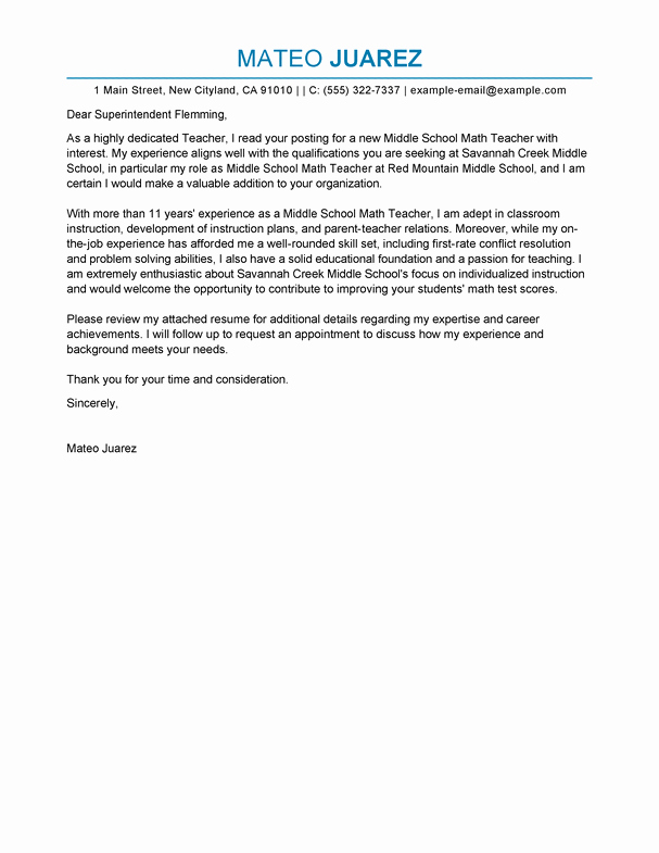 Teacher Cover Letter with Experience Fresh Best Teacher Cover Letter Examples