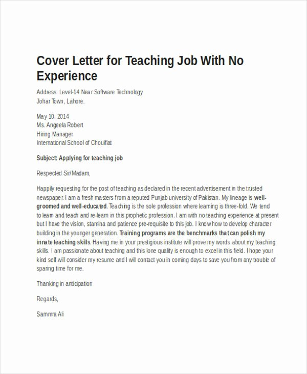 Teacher Cover Letter with Experience Inspirational 19 Job Application Letter Templates In Doc