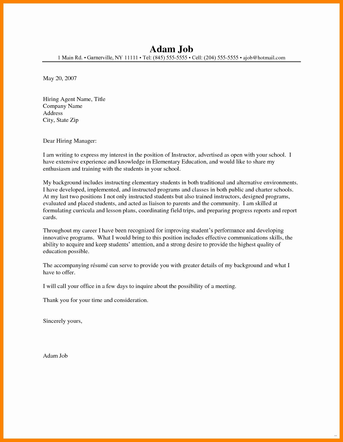 Teacher Cover Letter with Experience Lovely 8 9 Teacher Letter Of Interest Sample