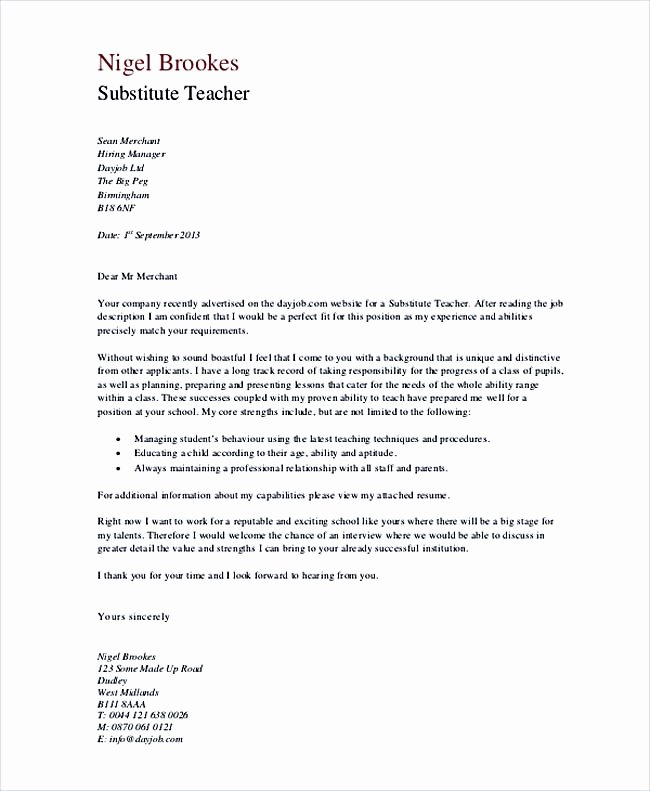 Teacher Cover Letter with Experience New Teaching Cover Letter Examples for Successful Job Application