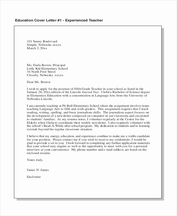 Teacher Cover Letters with Experience Elegant Sample Teacher Cover Letter 15 Free Documents In Pdf Doc