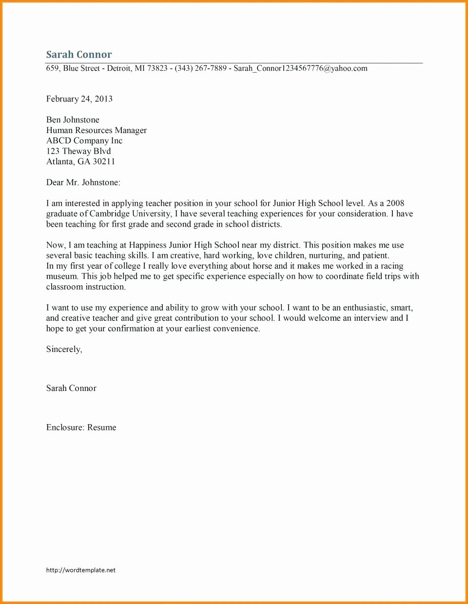 Teacher Cover Letters with Experience Lovely 10 Sample Teacher Cover Letter with Experience