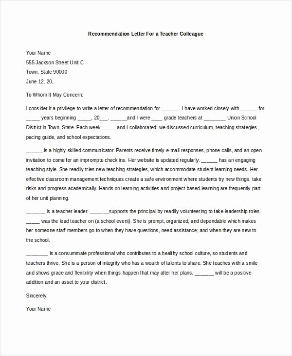 Teacher Letter Of Recommendation Sample Awesome Free 7 Sample Teacher Re Mendation Letters In Pdf