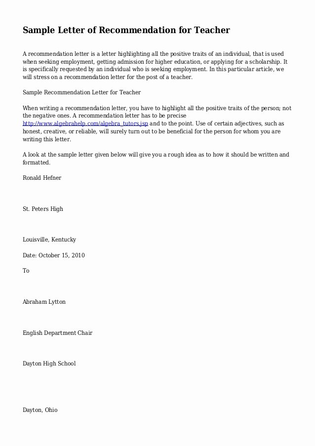 Teacher Letter Of Recommendation Sample Awesome Sample Letter Of Re Mendation for Teacher