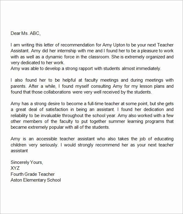Teacher Letter Of Recommendation Sample Inspirational Pin On Lor