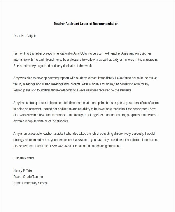 Teacher Letter Of Recommendation Sample Luxury Free 7 Sample Teacher Re Mendation Letters In Pdf