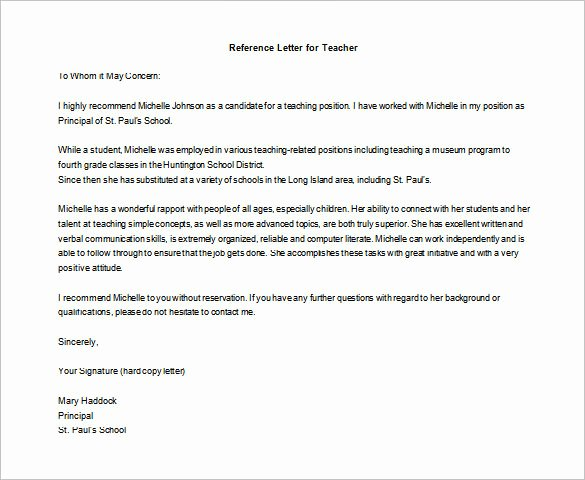 Teacher Letter Of Recommendation Sample Luxury Letter Of Re Mendation for Teacher – 12 Free Word