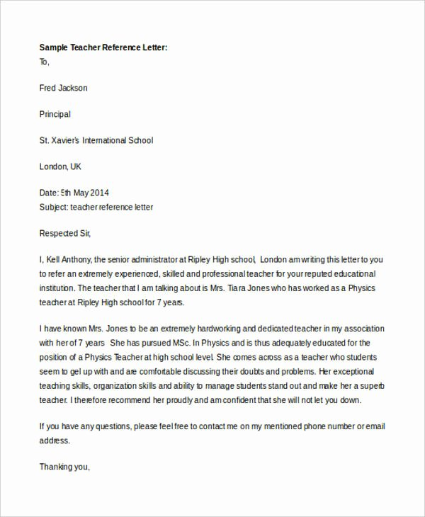 Teacher Letter Of Recommendation Sample New 7 Teacher Reference Letters Free Samples Examples