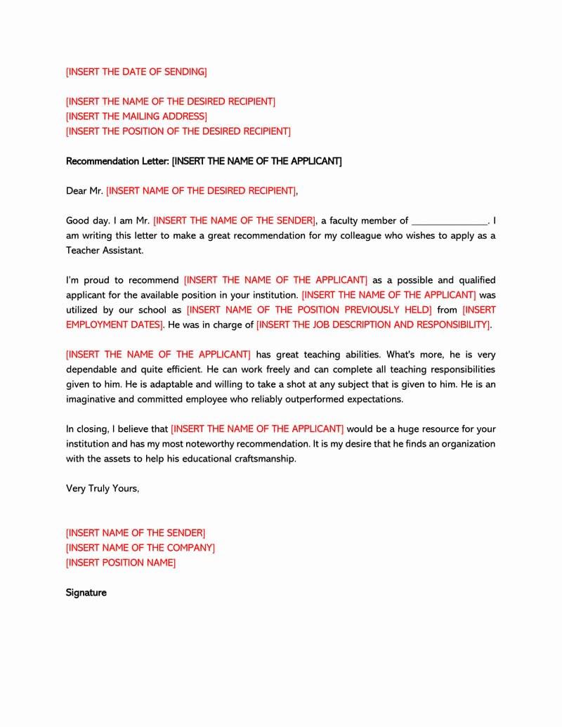 Teacher Letter Of Recommendation Sample New Re Mendation Letter for A Teacher 32 Sample Letters