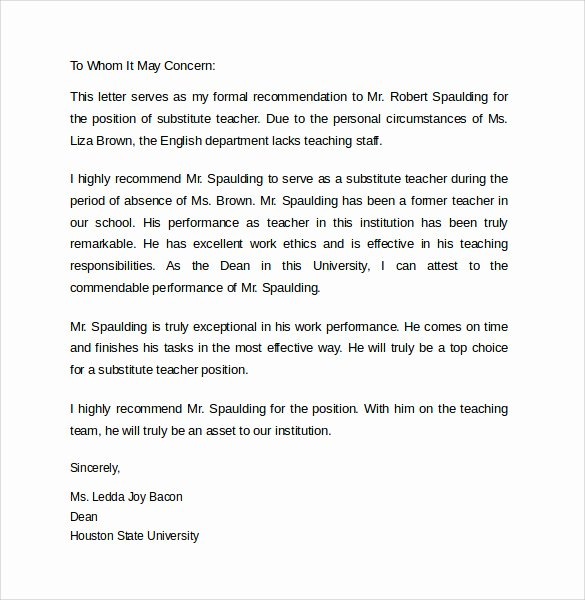 Teacher Letter Of Recommendation Sample New Sample Letters Of Re Mendation for A Teacher 9
