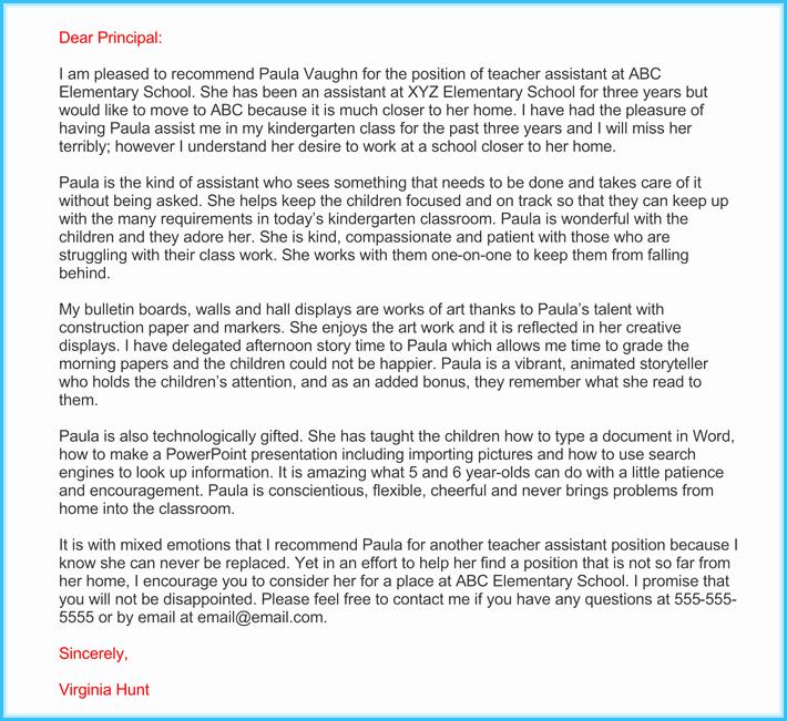 Teacher Letter Of Recommendation Sample New Teacher Re Mendation Letter 20 Samples Fromats