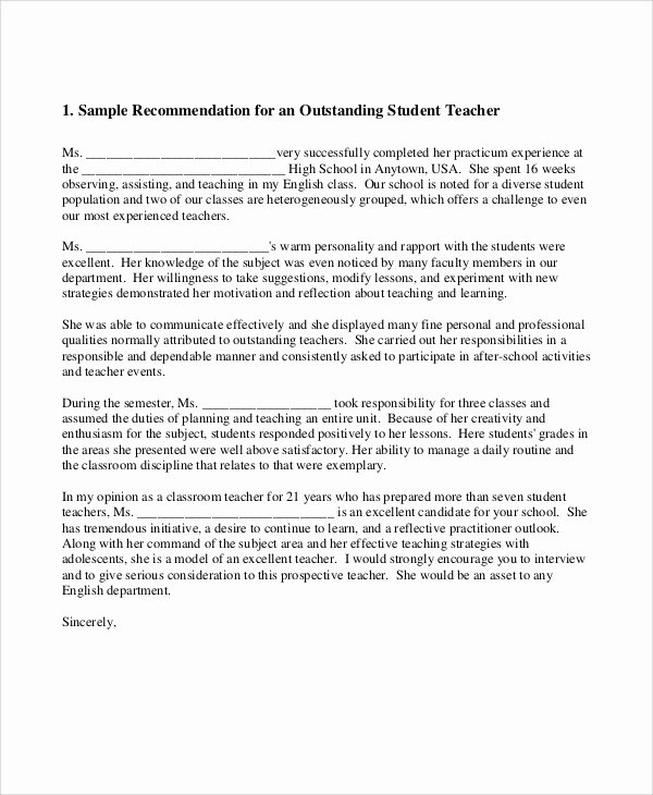 Teacher Letter Of Recommendation Sample Unique 8 Sample Teacher Re Mendation Letter Free Sample