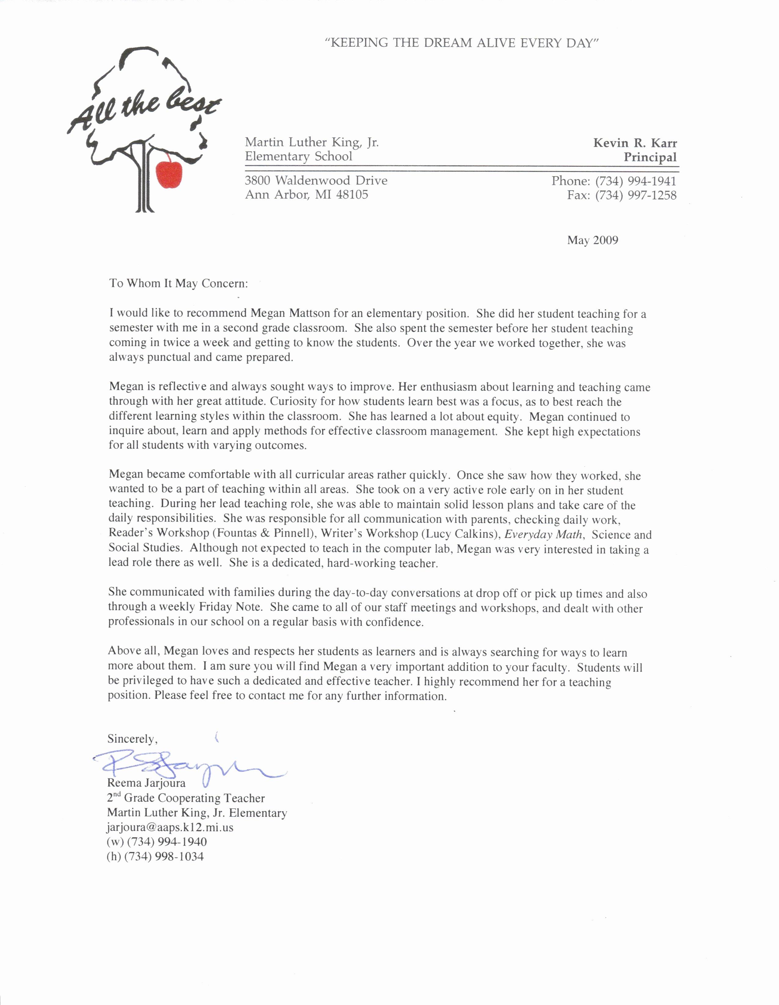 Teacher Letter Of Recommendation Samples Best Of Re Mendation Letter Sample for Teacher From Student