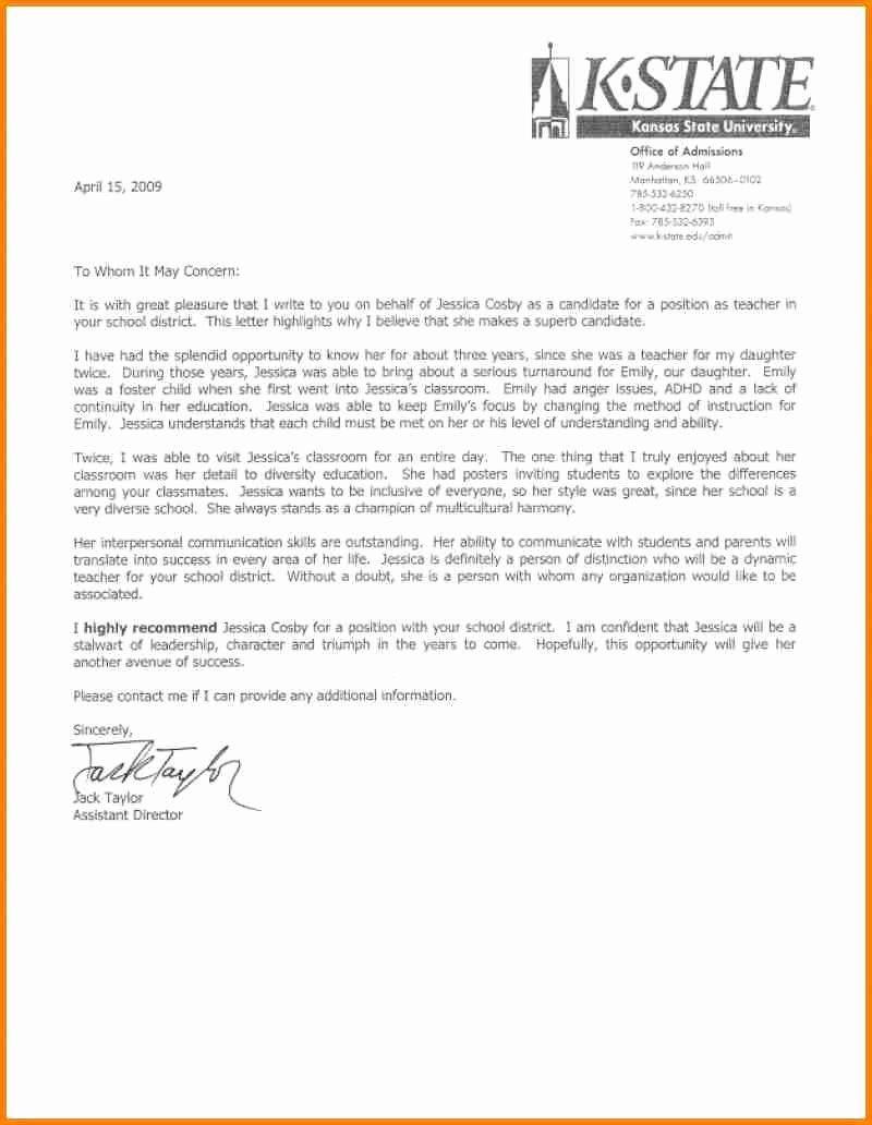 Teacher Letter Of Recommendation Samples New 8 English Teacher Reference Letter
