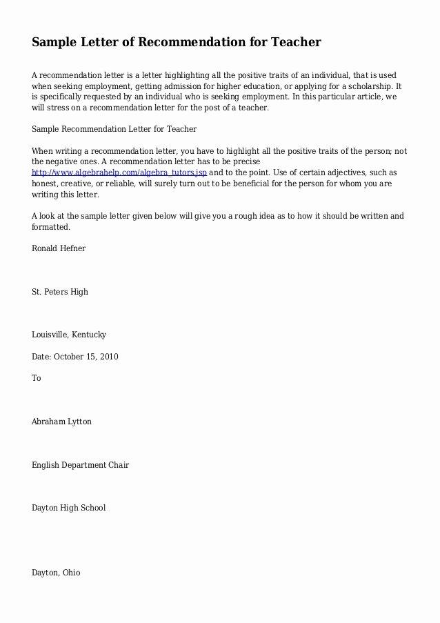 Teacher Letter Of Recommendation Samples New Sample Letter Of Re Mendation for Teacher