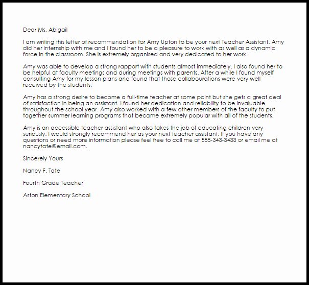 Teacher Letter Of Recommendation Samples New Teacher assistant Re Mendation Letter