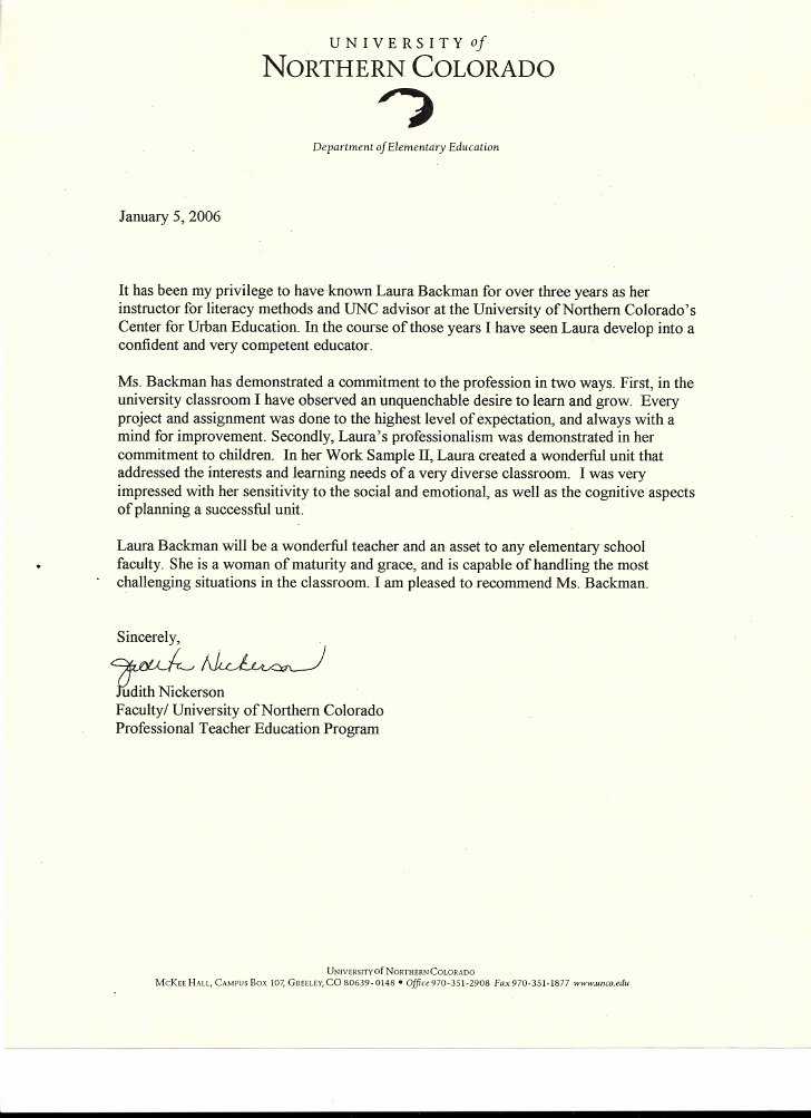 Teacher Letters Of Recommendation Elegant Letter Of Re Mendation From Judith Nickerson Faculty Of