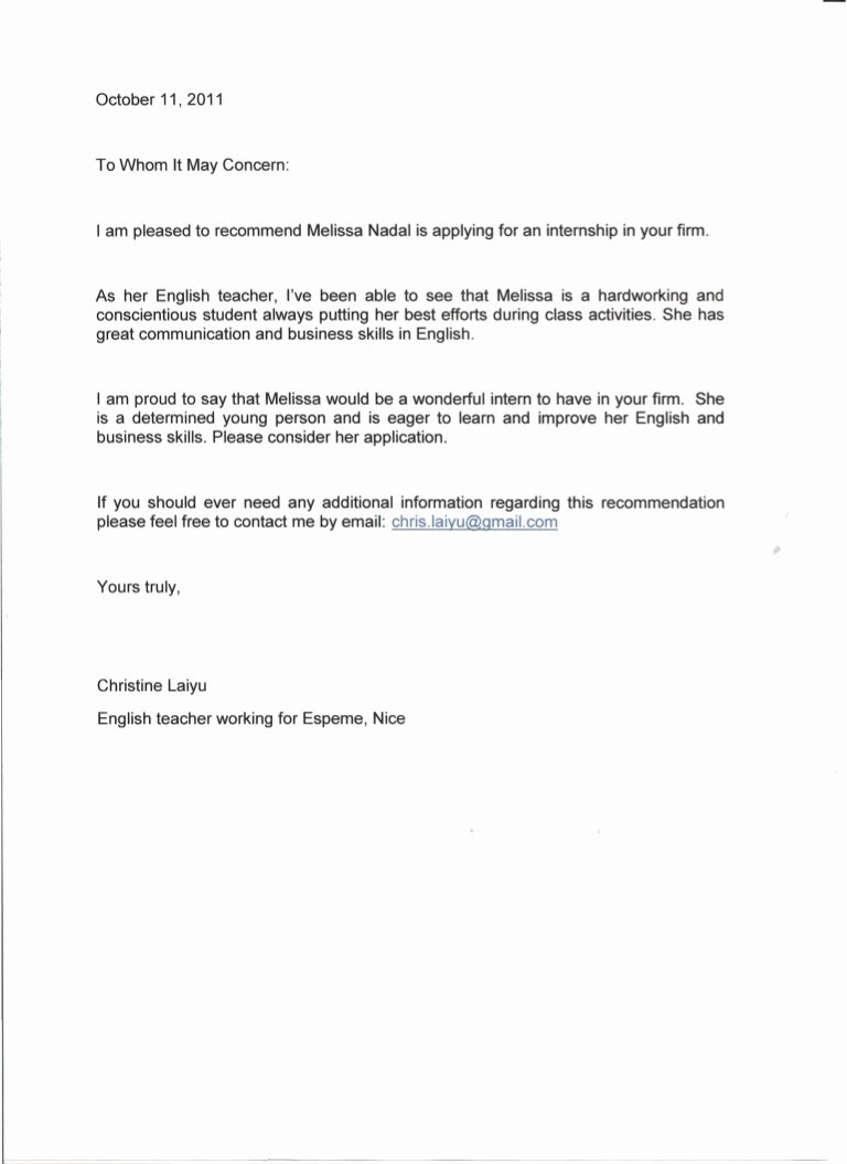 Teacher Letters Of Recommendation Elegant Re Mendation Letter English Teacher