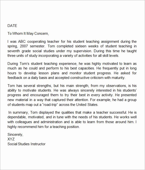 Teacher Letters Of Recommendation Luxury Sample Letter Of Re Mendation for Teacher