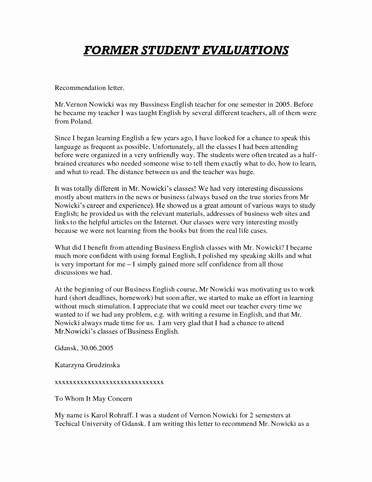 Teacher Letters Of Recommendation New Sample Letter Of Re Mendation for Teacher