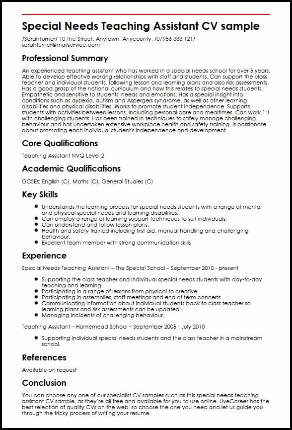 Teachers assistant Sample Resume Awesome Special Needs Teaching assistant Cv Sample