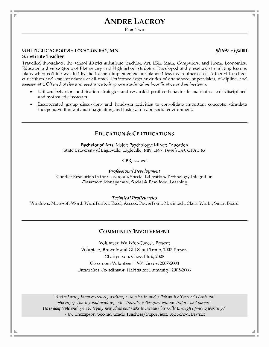 Teachers assistant Sample Resume Elegant Teaching assistant Resume Writing Example