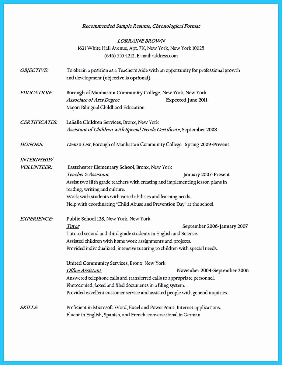 Teachers assistant Sample Resume Elegant there are Several Parts Of assistant Teacher Resume to
