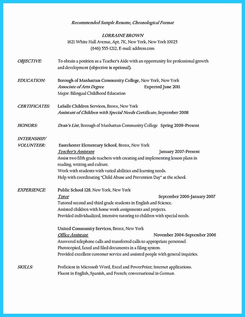 Teachers assistant Sample Resume Elegant there are Several Parts Of assistant Teacher Resume to