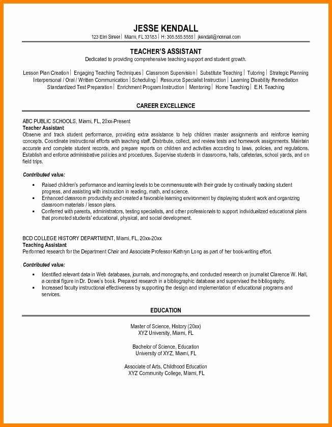 Teachers assistant Sample Resume Fresh 7 Educational assistant Resume