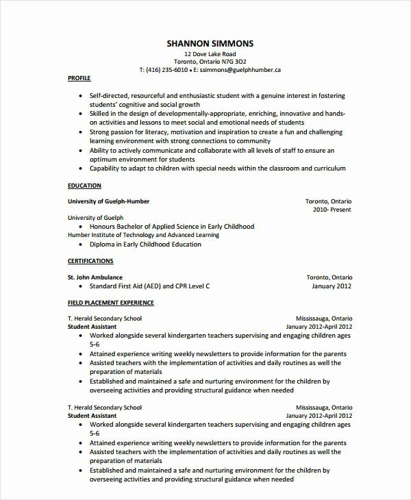 Teachers assistant Sample Resume Fresh 9 Teacher assistant Resume Templates Pdf Doc