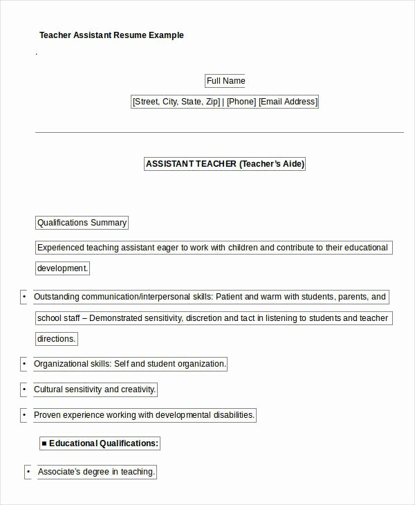 Teachers assistant Sample Resume Fresh Free Teacher Resume 40 Free Word Pdf Documents
