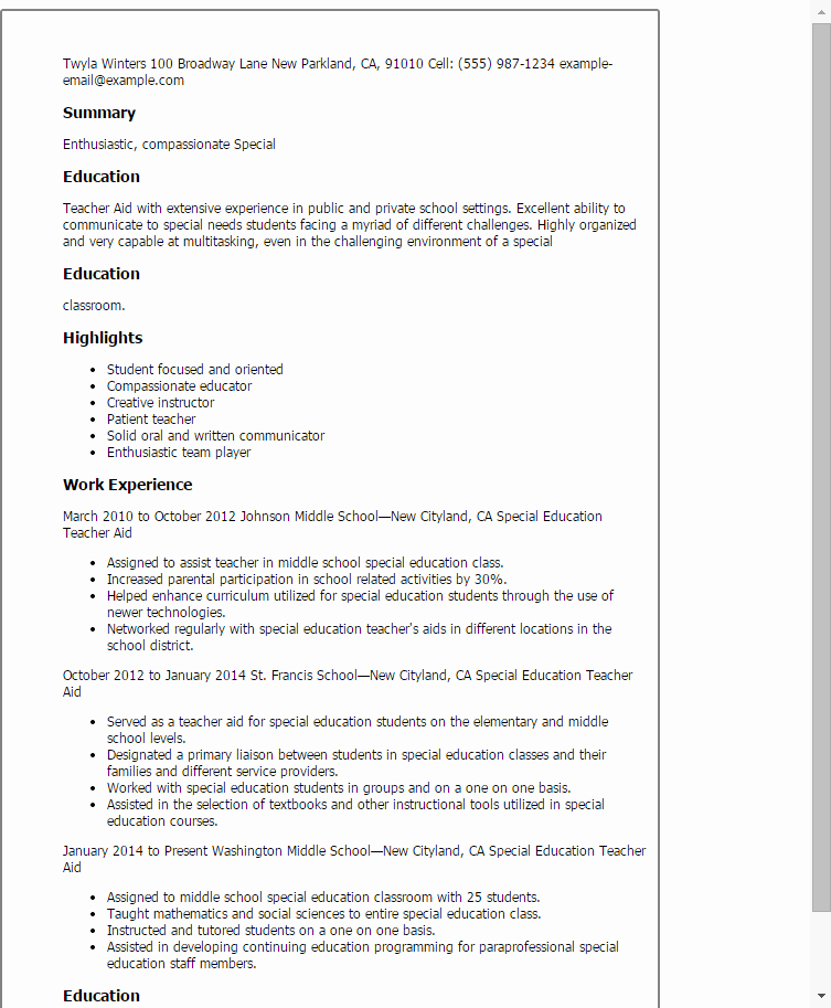 Teachers assistant Sample Resume Fresh Special Education Teacher Aide Resume Template — Best