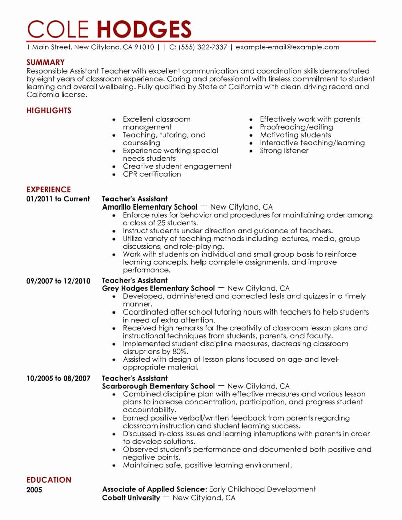 Teachers assistant Sample Resume Inspirational Best assistant Teacher Resume Example