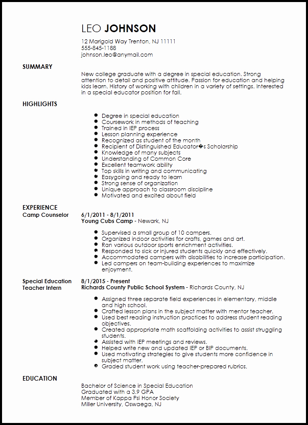 Teachers assistant Sample Resume Inspirational Free Entry Level Special Education Teacher Resume Template