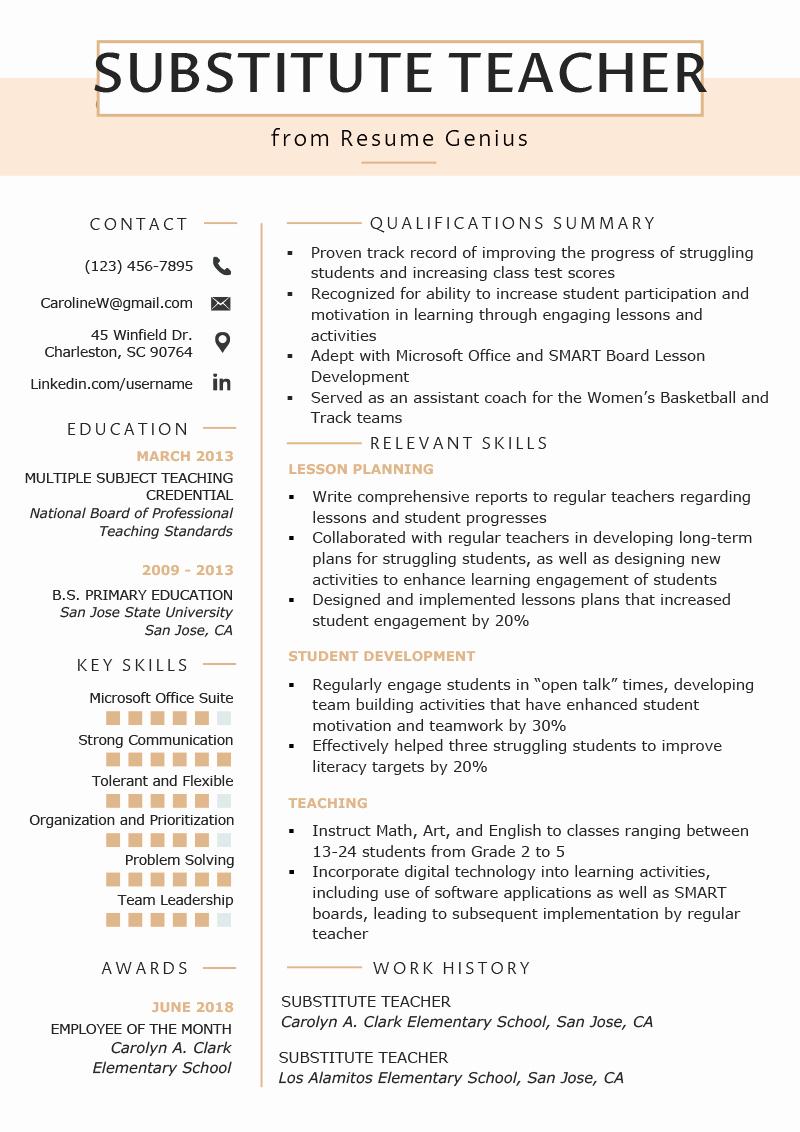 Teachers assistant Sample Resume Inspirational Substitute Teacher Resume Samples & Writing Guide