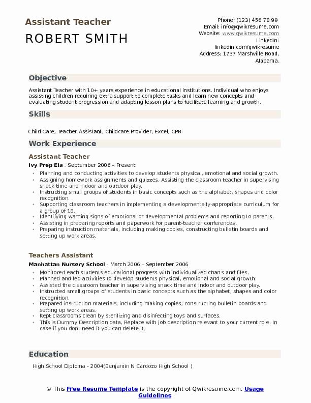 Teachers assistant Sample Resume Lovely assistant Teacher Resume Samples