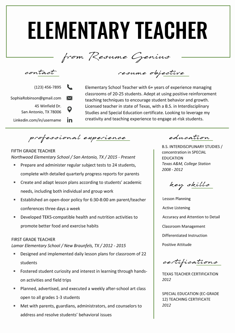 Teachers assistant Sample Resume Lovely Elementary Teacher Resume Samples & Writing Guide