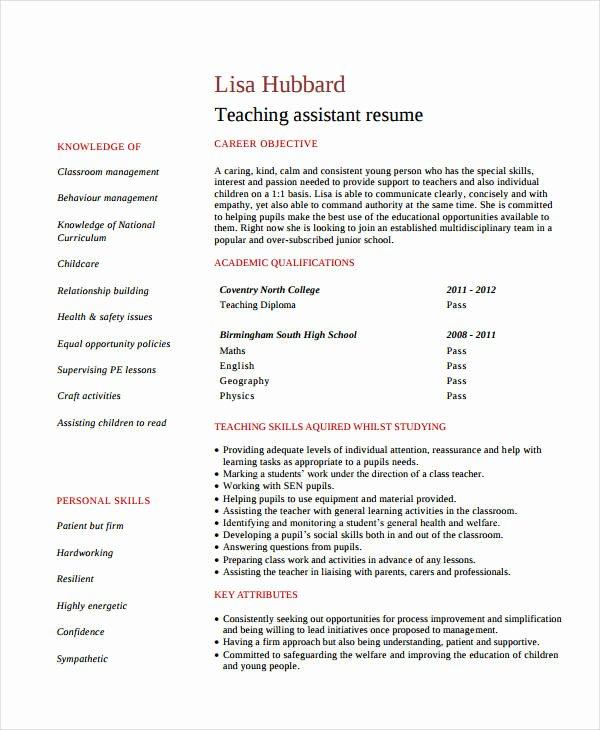 Teachers assistant Sample Resume Luxury 9 Teacher assistant Resume Templates Pdf Doc