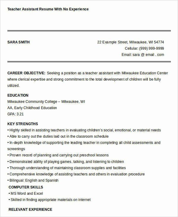Teachers assistant Sample Resume Luxury Free Teacher Resume 40 Free Word Pdf Documents
