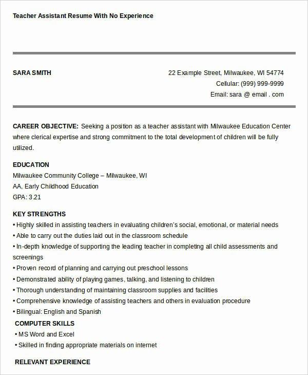 Teachers assistant Sample Resume Luxury Free Teacher Resume 40 Free Word Pdf Documents