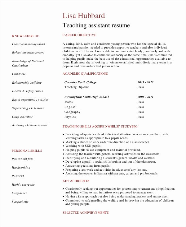 Teachers assistant Sample Resume New Sample Objective Statement for Resume 9 Examples In Pdf