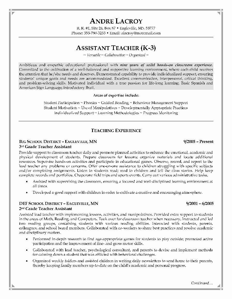 Teachers assistant Sample Resume Unique Pin by Job Resume On Job Resume Samples