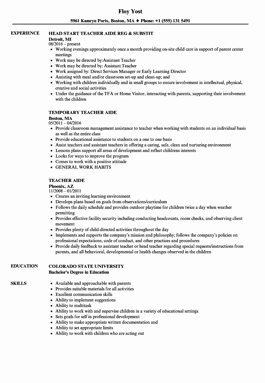 Teachers assistant Sample Resume Unique Teacher assistant Resume