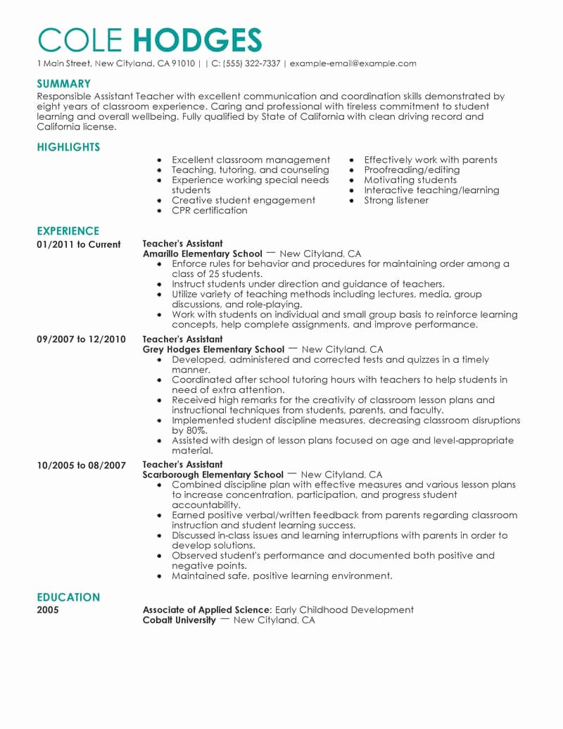 Teaching assistant Sample Resume Awesome Best assistant Teacher Resume Example