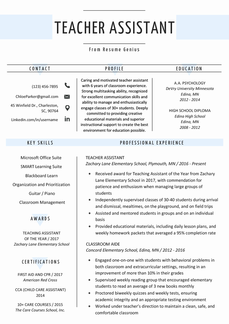 Teaching assistant Sample Resume Awesome Teacher assistant Resume Sample & Writing Tips