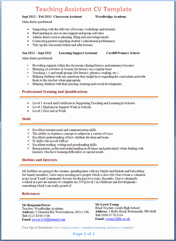 Teaching assistant Sample Resume Fresh Teaching assistant Cv Example 2