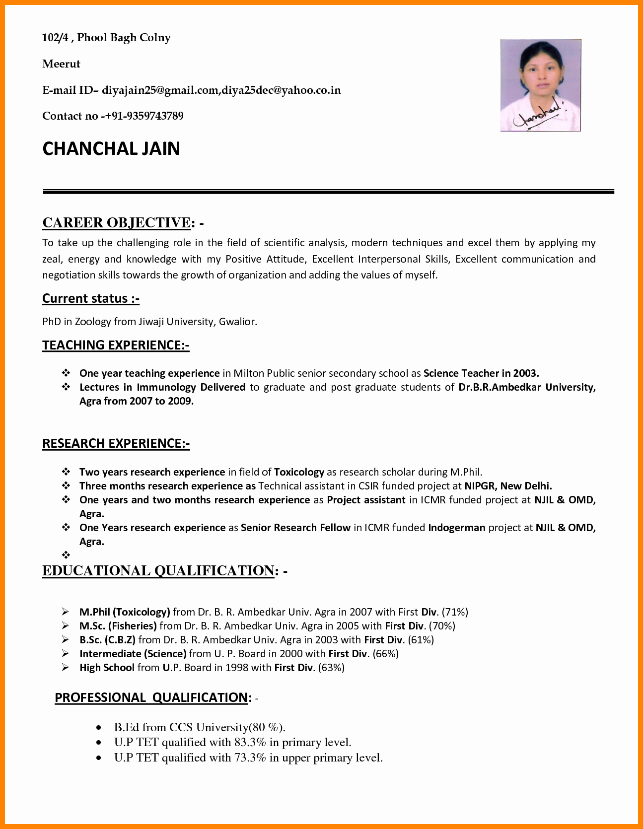 Teaching assistant Sample Resume Inspirational 7 Cv Sample for Teaching Job