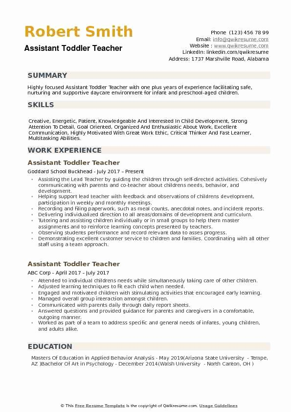 Teaching assistant Sample Resume Inspirational assistant toddler Teacher Resume Samples